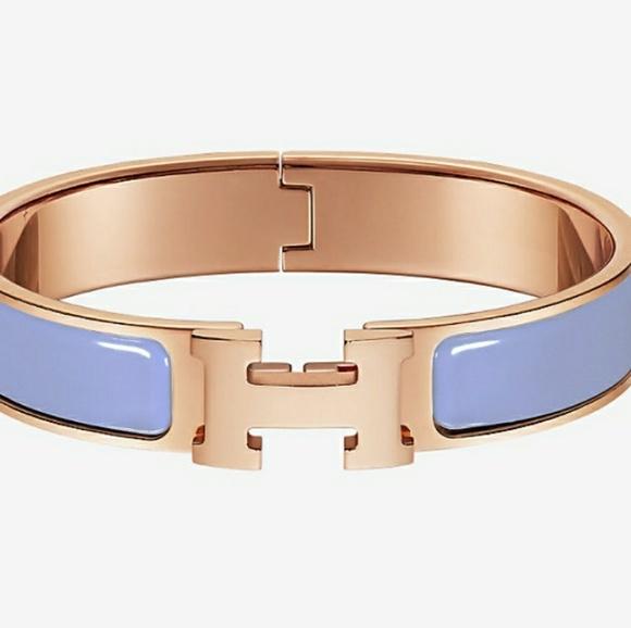 73f39ad1cac Hermes Jewelry | Clic H Enamel Bracelet Rose Goldlight Blue | Poshmark