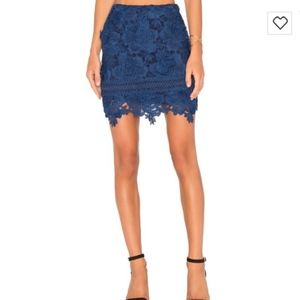 Lovers + Friends Blue Incense Floral-Lace Skirt
