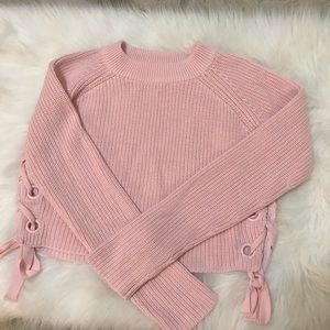 endless rose • lace up sweater in pink • medium