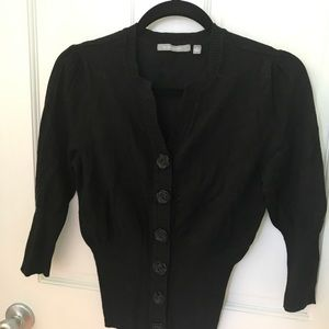 Black Cardigan with Rosette Buttons