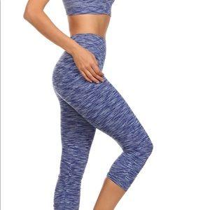 Pants - Blue heather Capri Workout Leggings