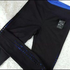 Pants - Black blue Cutout Yoga Workout Leggings