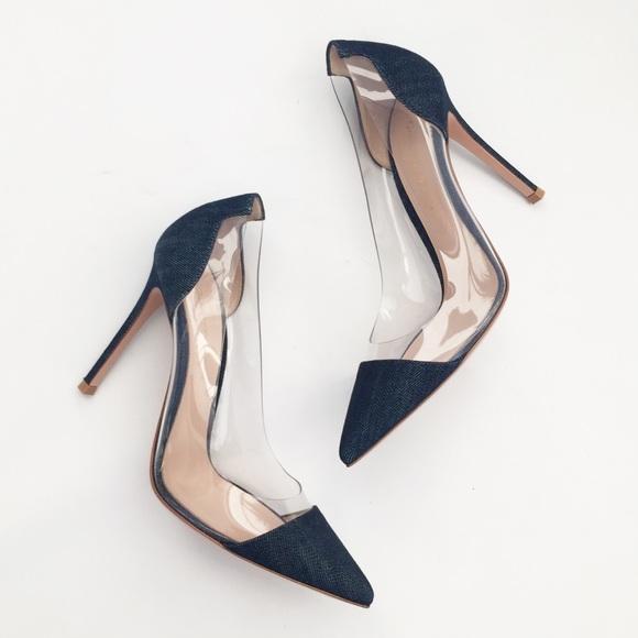 Gianvito Rossi Shoes - Gianvito Rossi Plexi Denim Pumps