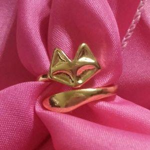 Gold Tone Fox Ring
