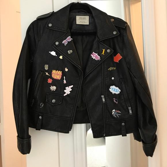 Zara Jackets Amp Coats Leather Jacket With Pins Poshmark