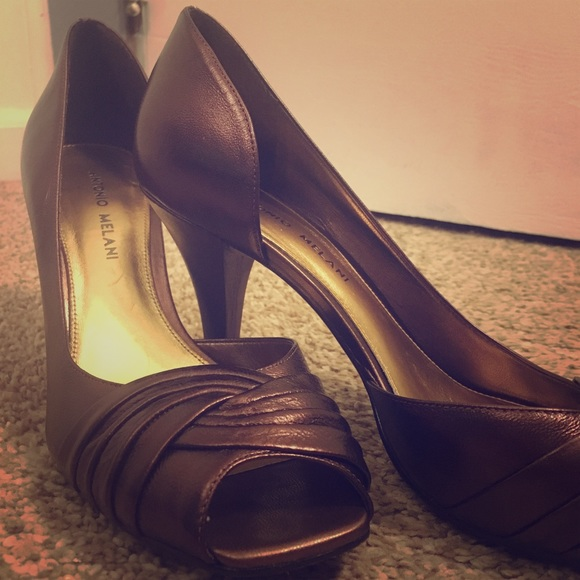 1309bcde77c ANTONIO MELANI Shoes - Antonio Melani Copper Peep Toe Heels