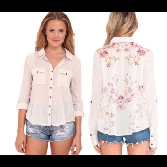 Free People Tops Party In The Back Button Up Shirt Poshmark