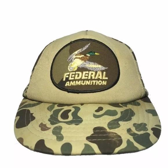 512c5d76da6bb federal Other - Vintage Federal Ammunition Snapback Hat Camo
