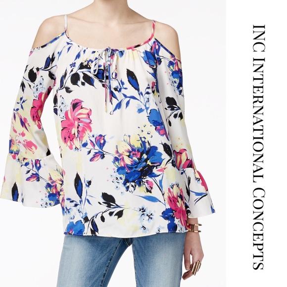 7965985c35587 INC • Floral Boho Bell Sleeve Cold Shoulder Top