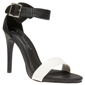Shoes - Black and White Single Sole Ankle Strap Heel