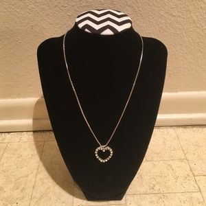 Silver colored heart rhinestone necklace