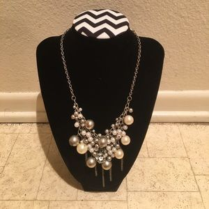 Silver colored faux pearl statement necklace