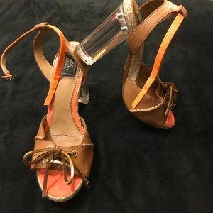 SALE Sperry Block Acrylic Heel Leather Sandals 7