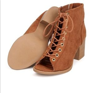 Shoes - Peep-Toe Lace-Up Ankle Booties
