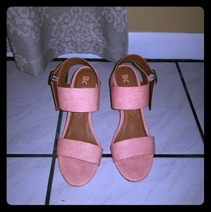 3 inch coral wedged sandals