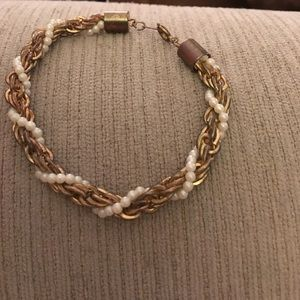 Vintage gold rope and pearl wrap bracelet Eclectic