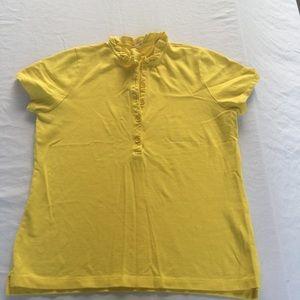 J. crew Ruffle neck polo shirt Large EUC