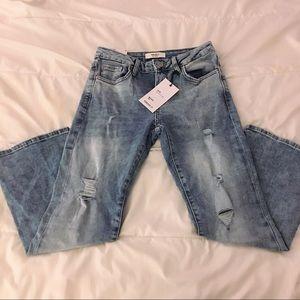 Forever 21 flare destress jeans