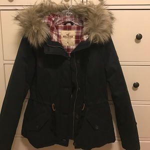 Hollister flannel lined anorak jacket with fur