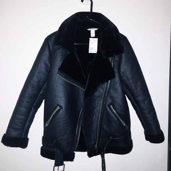 77b4edc07fae H M Oversized Biker Jacket Faux Leather with Fur