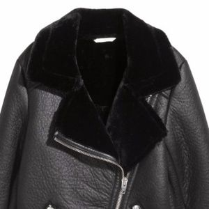 b8ee09df8972 H M Jackets   Coats - H M Oversized Biker Jacket Faux Leather with Fur