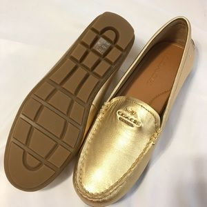 830ec220375 Coach Mary Lock Up Gold Driving Shoes