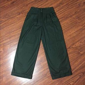 Pants - Vintage Wool Blend High Waist Wide Leg Trousers
