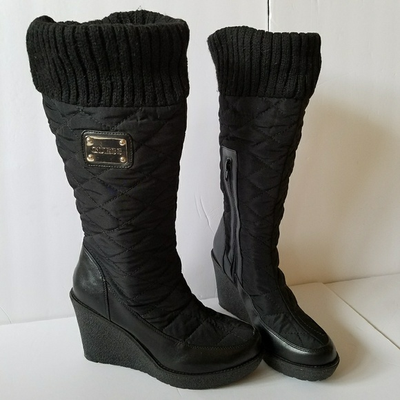 7a8f4f37b2 Guess Shoes - Guess winter boots quilted fabric wedge black 9