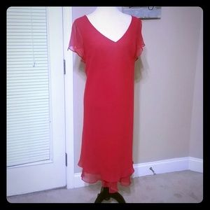 Dresses & Skirts - Gorgeous red dress. Has liner and sheer cap sleeve