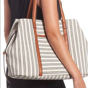 Street level tote striped canvas
