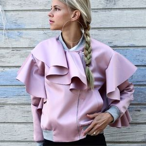 Pink Satin colored Bomber Jacket With Ruffles