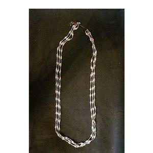 "Nakamol, 36"" 3 strand silver tone necklace"