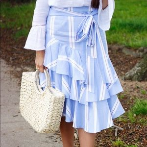 Striped ruffled skirt