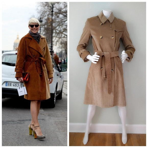 clear-cut texture shop for authentic official site Rare Burberry London Camel Corduroy Trench 4 v-day