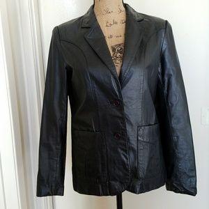 Jackets & Blazers - Black leather blazer- 2 pockets, 2 buttons