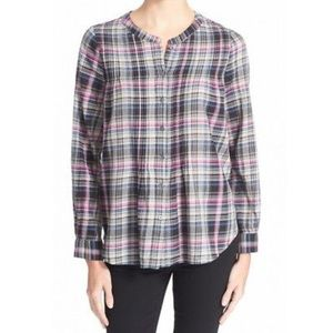 JOIE Gray Womens Pleated Plaid Button Down Shirt