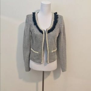 Aryn K Fitted Tweed Jacket With Beaded Pearl Trim