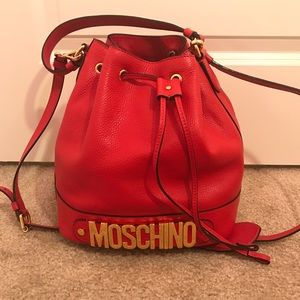 Authentic Moschino red logo bucket shoulder bag