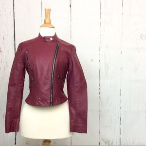 Forever 21 Faux Leather Zip Up Moto Biker Jacket