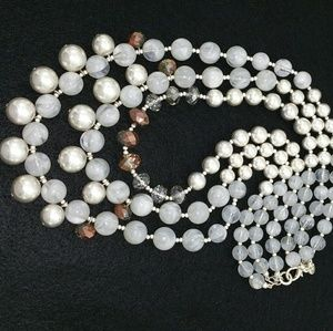 Triple Strand Necklace Silver White Marbled Beads