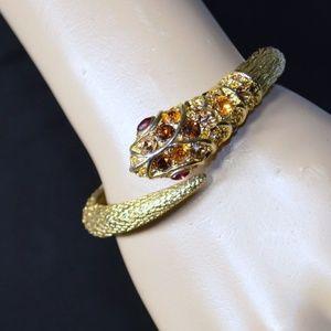 Kenneth Lane Crystal & Gold Plated Snake Bracelet