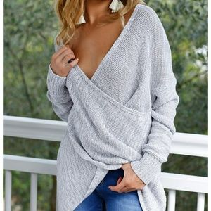 Tops - Light grey, deep plunge, cross sweater