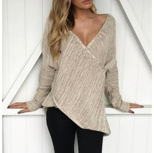 Tops - Oatmeal deep plunge, cross wrap sweater