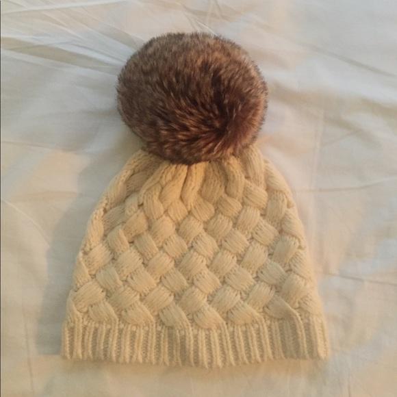 cdeccb2060d41 J. Crew Knit Beanie Hat w  Faux Fur Pom Pom