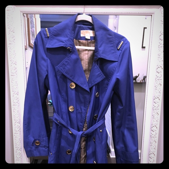 color brilliancy so cheap skate shoes Royal Blue Michael Kors Trench Coat