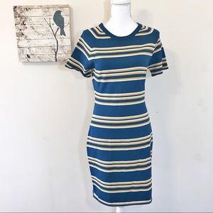 W118 by Walter Baker Teal Stripe Sweater Dress