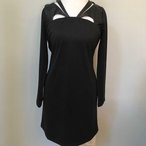 Black dress w/faux leather shoulder detail size L