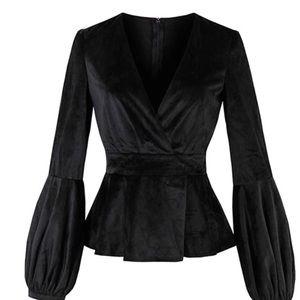 Tops - Black Velvet Lantern Sleeve Top