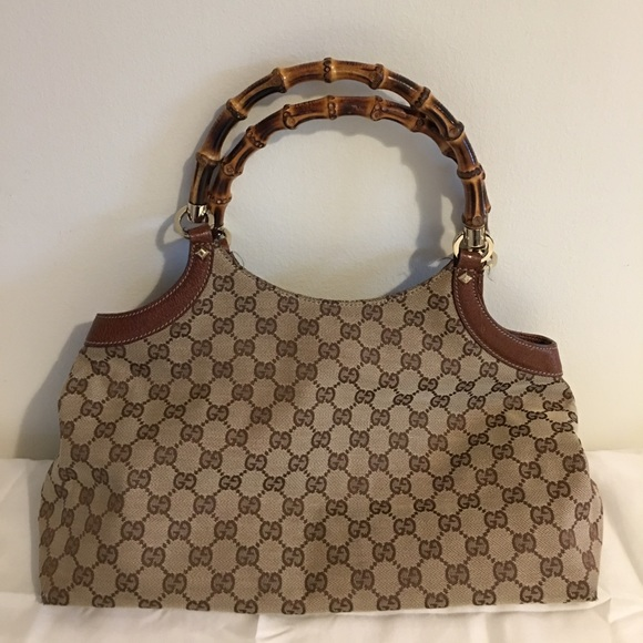 83ecb9c64e4471 Gucci Bags | Vintage Canvas Leather Bamboo Handle Bag | Poshmark