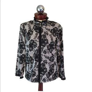 JOSEPH RIBKOFF Jacket Lace print Zip front 14
